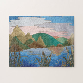 Blue water landscape abstract contemporary art jigsaw puzzle