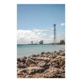 Blue water landscape and rocky shore stationery