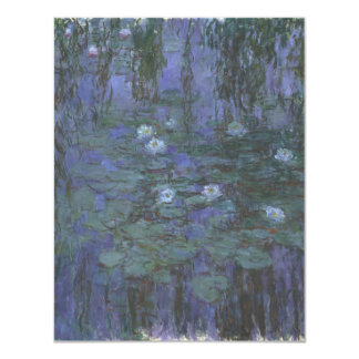 Blue Water Lilies by Claude Monet 4.25x5.5 Paper Invitation Card