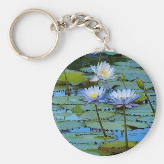 Blue water lilies keychain