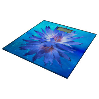 Blue Water Lily Bathroom Scale