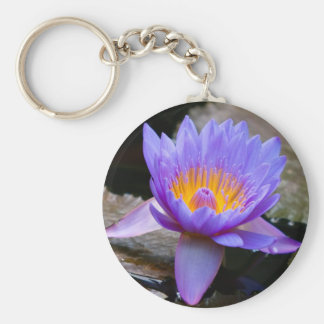 Blue Water Lily Keychain