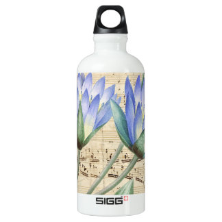 Blue water lily music aluminum water bottle