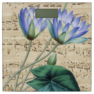 Blue water lily music bathroom scale