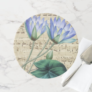 Blue water lily music cake stand