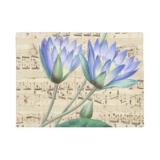 Blue water lily music doormat
