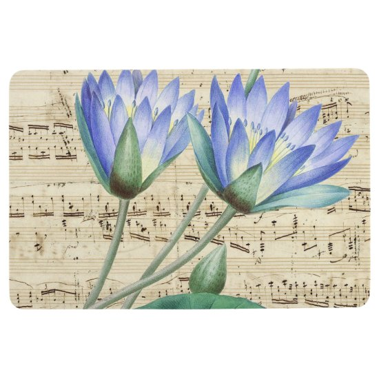 Blue water lily music floor mat