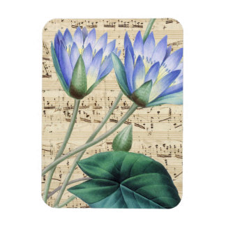 Blue water lily music magnet