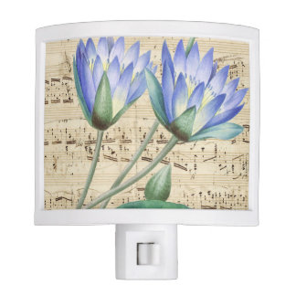 Blue water lily music night light