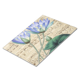 Blue water lily music notepad