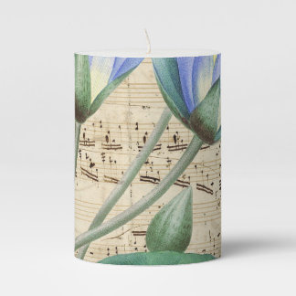 Blue Water Lily Music Pillar Candle