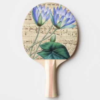 Blue water lily music Ping-Pong paddle
