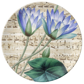 Blue water lily music plate