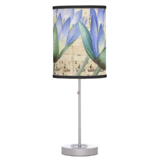 Blue water lily music table lamp