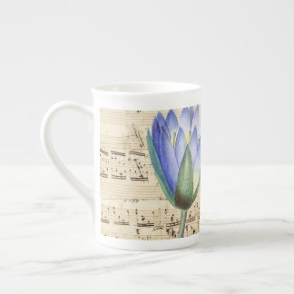 Blue water lily music tea cup