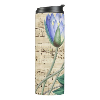 Blue water lily music thermal tumbler