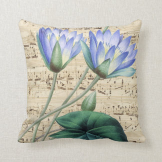 Blue water lily music throw pillow