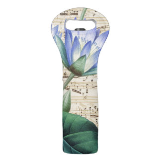 Blue water lily music wine bag