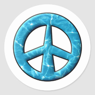 Blue Water Peace Sign Classic Round Sticker