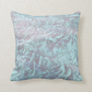 blue water plants under pond water throw pillow