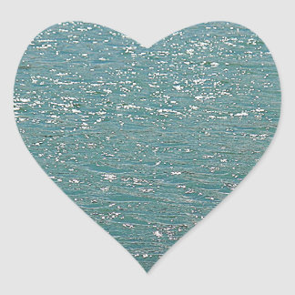 Blue water heart sticker