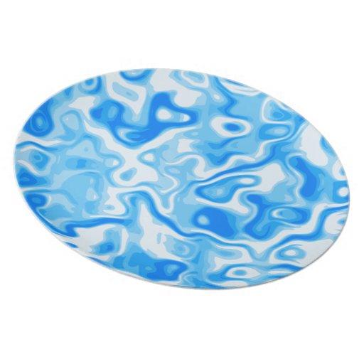 Blue Water texture abstract art Dinner Plate