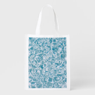 Blue water texture reusable grocery bags