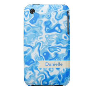 Blue Water texture with beige name tag iPhone 3 Cover