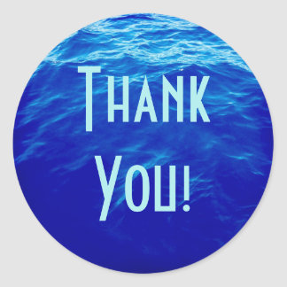 Blue Water Thank You Classic Round Sticker