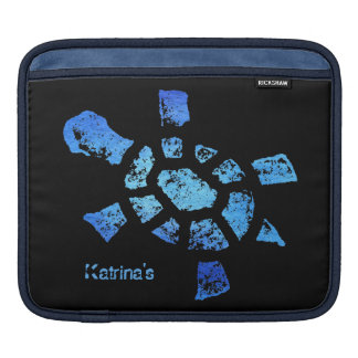 Blue Water Turtle Horizontal Sleeve For iPads