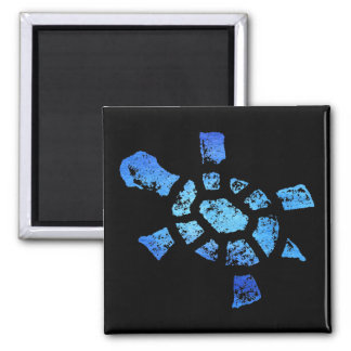 Blue Water Turtle Square Magnet