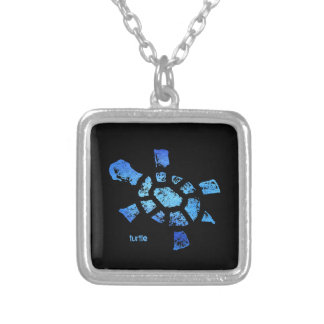 Blue Water Turtle square Silver Plated Necklace