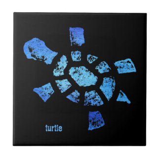 Blue Water Turtle Small Square Tile
