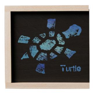 Blue Water Turtle Wooden Keepsake Box