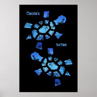 Blue Water Turtles Poster