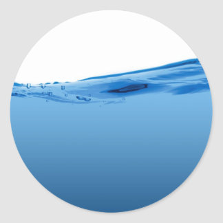Blue water wave classic round sticker