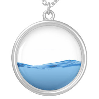 Blue water wave round pendant necklace