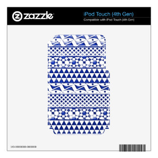 Blue Watercolor Abstract Aztec Tribal Print Pattrn Decals For iPod Touch 4G