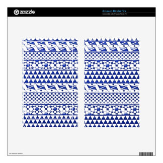 Blue Watercolor Abstract Aztec Tribal Print Pattrn Decals For Kindle Fire