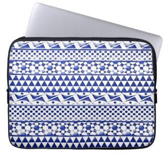 Blue Watercolor Abstract Aztec Tribal Print Pattrn Laptop Sleeves