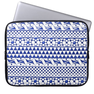 Blue Watercolor Abstract Aztec Tribal Print Pattrn Laptop Computer Sleeve
