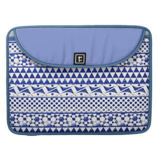 Blue Watercolor Abstract Aztec Tribal Print Pattrn MacBook Pro Sleeve