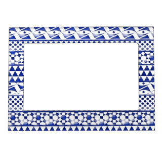 Blue Watercolor Abstract Aztec Tribal Print Pattrn Magnetic Frames