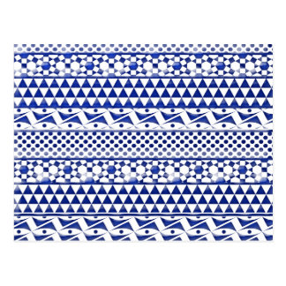 Blue Watercolor Abstract Aztec Tribal Print Pattrn Postcard