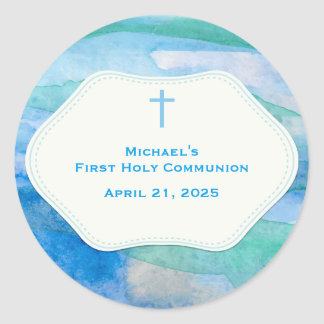 Blue Watercolor Abstract, Religious Classic Round Sticker