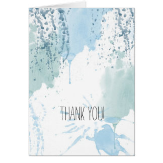 Blue Watercolor Abstract Thank You Card