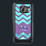 "Blue watercolor and black Chevron, Personalized OtterBox Samsung Galaxy S7 Case<br><div class=""desc"">Blue watercolor and purple chevron pattern sturdy otter box Samsung Galaxy S7.   Personalized with your name and monogram.  Shown with the name Jillian and the initial M,  but can be customized with your name and initial.</div>"