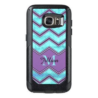 Blue watercolor and black Chevron, Personalized OtterBox Samsung Galaxy S7 Case