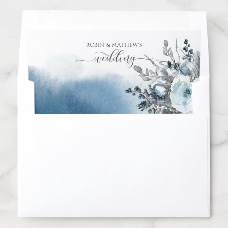 Blue Watercolor and Dusty Blue Floral Wedding Envelope Liner