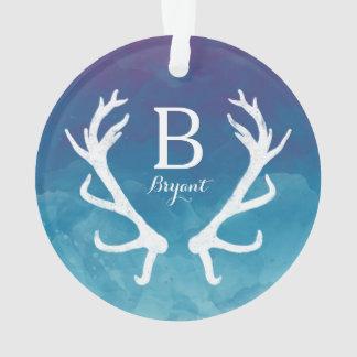 Blue Watercolor and Rustic Deer Antlers Monogram